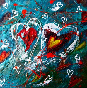 HANNAH'S HEART Acrylic on canvas and lace 30cm x 30cm SOLD $700