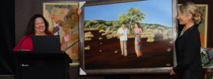 Presenting Gina Rinehart with her painting at the Annual Mining Awards
