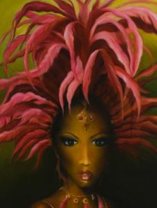 PLUCKED FLAMINGO Acrylic & fabric on canvas 60' x 40'(107cm x 138cm x 3.5cm) SOLD