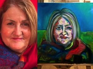 BLUE LADY 35cm x 35cm Oil on canvas FOR SALE $150