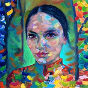 FROM RUSSIA WITH LOVE Oil on canvas 35cm x 35cm FOR SALE $450