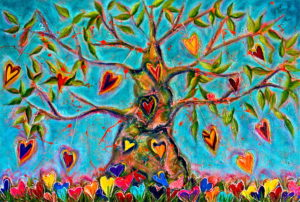 CRAZY HEART TREE Acrylic on canvas and lace 60' x 40' SOLD $4000