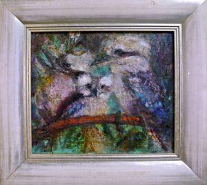 KOOKABURRA FAMILY Acrylic & wax on board 41cm x 46cm SOLD