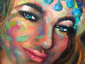 SELFIE (close up) Oil on material 120cm x 94cm FOR SALE $3500