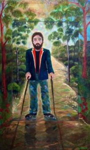 LOST SOLDIER Oil on canvas and wax on board 140cm x 85cm FOR SALE $1900