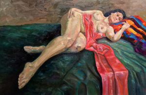 Nude Jo Oil on canvas 77cm x 51cm FOR SALE $790
