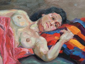 Nude Jo Oil on canvas 1m x 80cm FOR SALE $2500