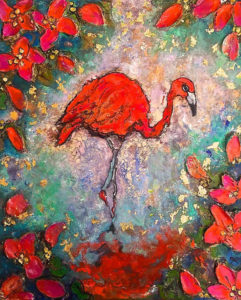 FLAMINGO BLOOM 3 46 x 57cm Wax on Board SOLD