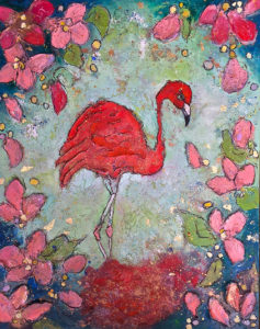 FLAMINGO FEVER 1 46 x 57cm Wax on Board FOR SALE $250
