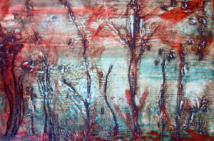FOREST Wax on board 30cm x 21cm SOLD