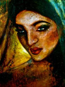 JASMYNA Oil & fabric on canvas 60'x40' SOLD
