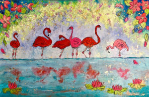 Flamingo Cove 80cm x 60cm Wax on Board SOLD