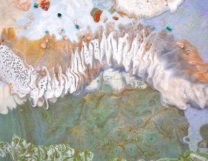'Aerial Dreams' Materials: Resin on board, rose quartz, turquoise, ghost phantom crystal 122cm x 88cm