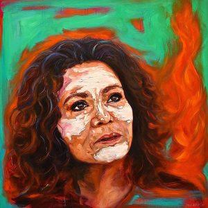 Fire Woman 110cm x 110cm Oil on Canvas For Sale $1800