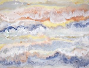 Sunrise 160cm x 122cm Materials: Resin, Acrylic, crystals on marine ply. Price: $4200 Inspired by our glorious sunrises I set about creating this energy painting.