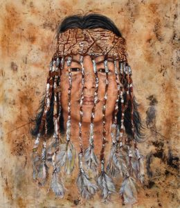 Title: Susan Moylan-Coombs From: Gurindji Woolwonga Countray Materials: Chalk pastel and charcoal on eco dyed fabric using gum leaves and wattle Measurements: 116cm x 147cm Permission to draw this portrait was given by Susan herself. For Sale: Please inquire