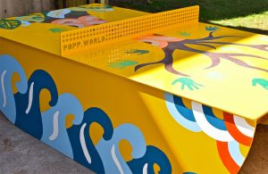 This ping pong table was a collaborative project painted with another artist Kim Cameron Wezlick and the children of Cromer Public School.